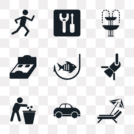 Set Of 9 simple transparency icons such as Sun umbrella, Car, Trash, Reflector, Fishing, Bed 3D view, Fountain, Wrench, Running, can be used for mobile, pixel perfect vector icon pack on transparent