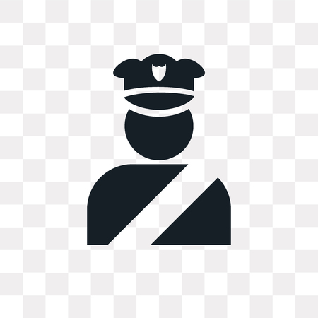 Policeman figure vector icon isolated on transparent background, Policeman figure logo concept