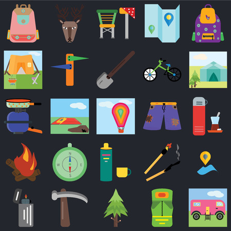 Set Of 25 icons such as Trailer, Sleeping bag, Spruce, Pick, Lighter, Tent, Shorts, Thermo, Bonfire, Camp chair, Deer on black background, web UI editable icon pack