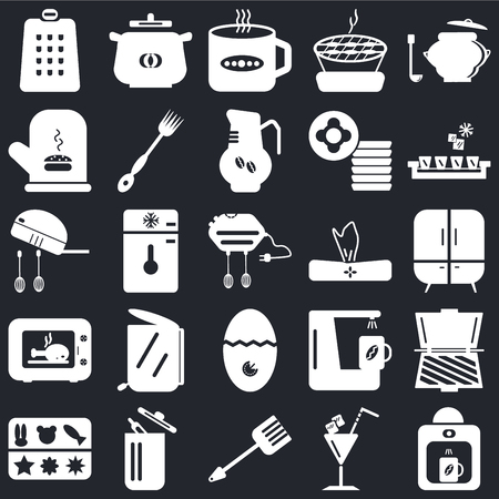 Set Of 25 icons such as Coffee maker, Cocktail, Spatula, Trash, Molded, Ice cube tray, Napkin, Timer, Microwave, Mitten, Tea cup, Pot on black background, web UI editable icon pack