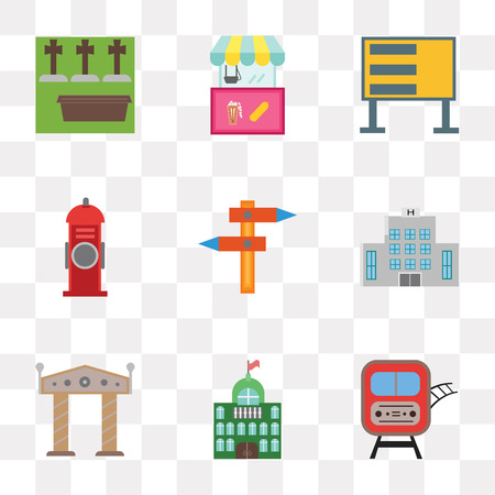 Set Of 9 simple transparency icons such as Train, City hall, Arch, Hospital, Hydrant, Billboard, Food cart, Cemetery, can be used for mobile, pixel perfect vector icon pack on transparent background Illusztráció