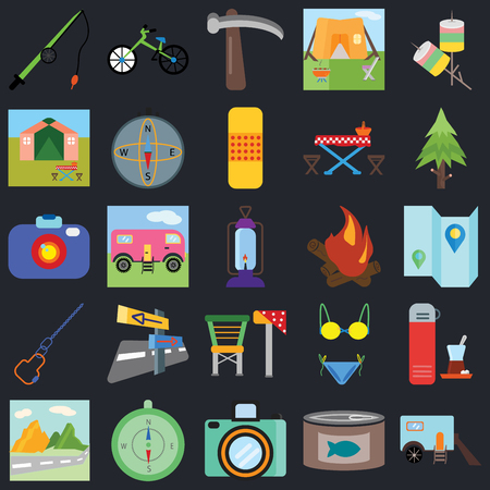 Set Of 25 icons such as Trailer, Canned food, Camera, Compass, Mountain, Spruce, Bonfire, Camp chair, Carabiner, Tent, Pick, Bicycle on black background, web UI editable icon pack Ilustração