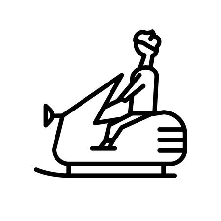 Vecteur d'icône de motoneige isolé sur fond blanc, signe transparent de motoneige, éléments de conception de symbole linéaire et de course dans le style de contour