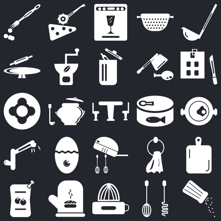 Set Of 25 icons such as Salt shaker, Mixer, Squeezer, Mitten, Sauces, Kitchen board, Conserve, Tap, Rolling pin, Dishwasher, Pizza cutter on black background, web UI editable icon pack