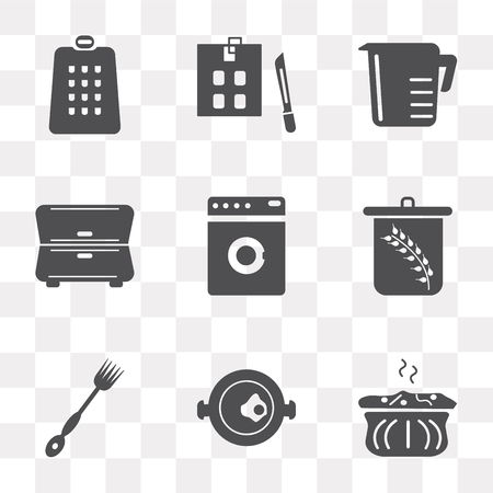 Set Of 9 simple transparency icons such as Molded, Paella, Fork, Wheat, Washing machine, Cabinet, Measuring cup, Kitchen board, Grater, can be used for mobile, pixel perfect vector icon pack on