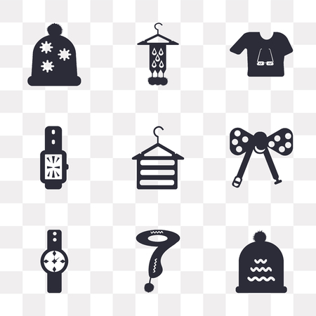 Set Of 9 simple transparency icons such as Winter hat, Scarf, Watch, Bow tie, Hanger, Shirt, can be used for mobile, pixel perfect vector icon pack on transparent background Illustration
