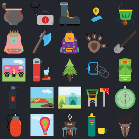 Set Of 25 icons such as Deer, Thermo, Grill, Hot air balloon, Canteen, Shovel, Carabiner, Tent, Spray, Backpack, Shoe, First aid kit on black background, web UI editable icon pack