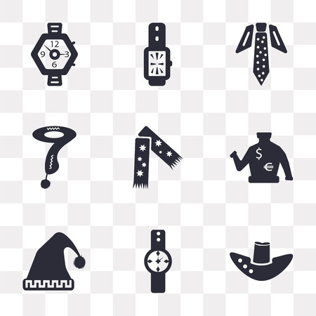 Set Of 9 simple transparency icons such as Fedora hat, Watch, Winter Sweater, Scarf, Tie, can be used for mobile, pixel perfect vector icon pack on transparent background