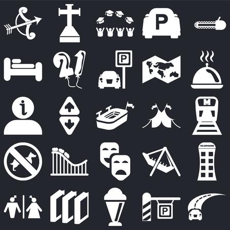 Set Of 25 simple editable icons such as Road, Metro, Tray with cover, Cross stuck in ground, Toilet, Balloons, Amusement Park, Information on black background, web UI icon pack