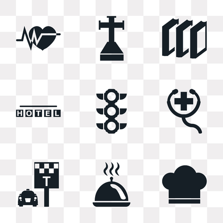 Set Of 9 simple transparency icons such as Chef hat, Tray with cover, Taxi stop, First Aid, Traffic light, Square hotel, Three books, Cross stuck in ground, Electrocardiogram, can be used for mobile, Ilustracja