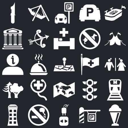 Set Of 25 icons such as Ice Cream, Parking, Charger, No Smoking, Phone box, Circus, Plain flag, World map, Woods, Monument, Amusement Park on black background, web UI editable icon pack
