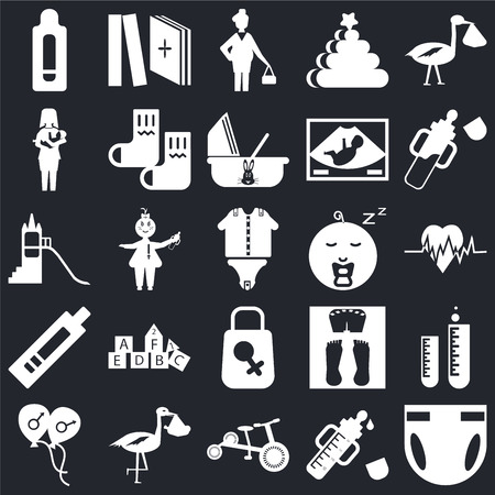 Set Of 25 icons such as Diaper, Feeder, Tricycle, Stork, Balloon, Baby bottle, boy, Bag, Pregnancy test, Breastfeeding, Pregnant, Tale on black background, web UI editable icon pack