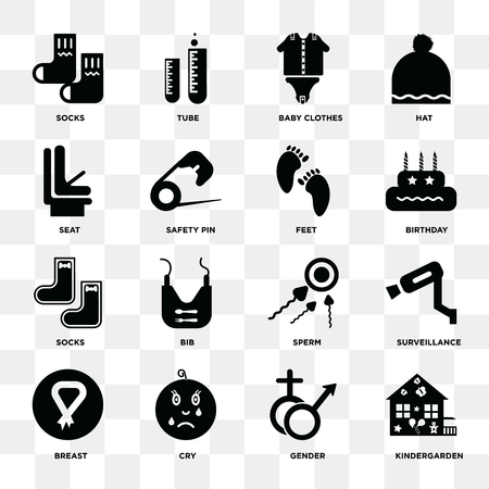 Set Of 16 icons such as Kindergarden, Gender, Cry, Breast, Surveillance, Socks, Seat, Feet on transparent background, pixel perfect