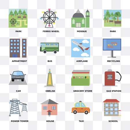 Set Of 16 icons such as School, Taxi, House, Power tower, Gas station, Park, Appartment, Car, Airplane on transparent background, pixel perfect