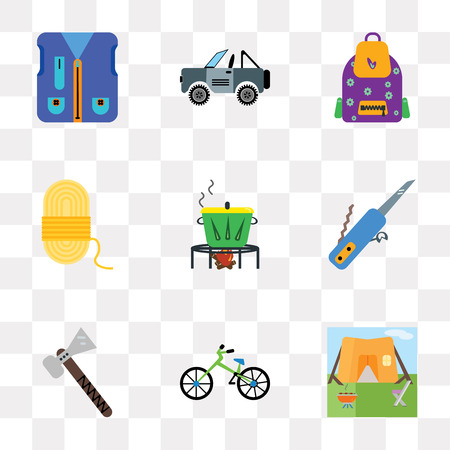 Set Of 9 simple transparency icons such as Tent, Bicycle, Pick, Swiss knife, Pot, Rope, Backpack, Jeep, Fishing vest, can be used for mobile, pixel perfect vector icon pack on transparent background
