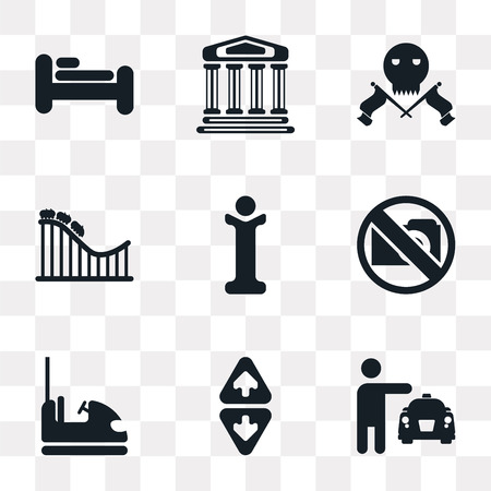 Set Of 9 simple transparency icons such as Taxi, Elevator, Dodgem, No Photo, Information, Roller Coaster, Skull and bones, Monument, Bed, can be used for mobile, pixel perfect vector icon pack on