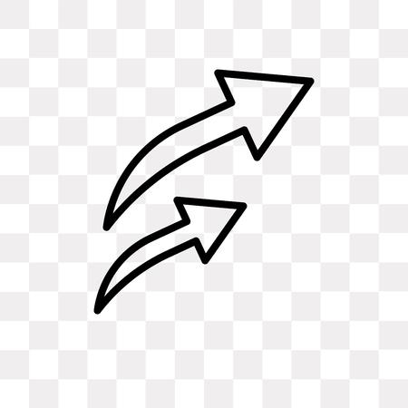 Icône de vecteur de flèche o isolé sur fond transparent, concept de logo o flèche