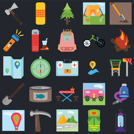 Set Of 25 icons such as Lantern, Sleeping bag, Mountain, Pick, Hot air balloon, Bonfire, Placeholder, Picnic table, Shovel, Flashlight, Spruce, Band aid on black background, web UI editable icon pack