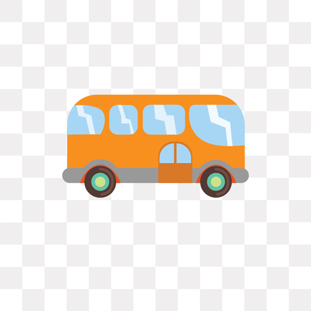 Bus vector icon isolated on transparent background, Bus logo concept Vectores