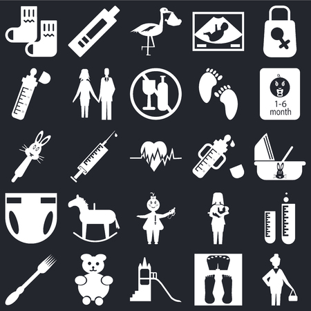 Set Of 25 icons such as Pregnant, Scale, Playground, Teddy bear, Fork, Baby food, Feeder, Baby, Diaper, bottle, Stork, Pregnancy test on black background, web UI editable icon pack