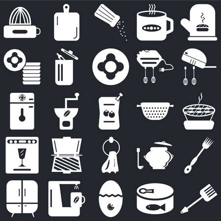 Set Of 25 icons such as Spatula, Conserve, Timer, Coffee maker, Cabinet, Mixer, Strainer, Towel, Dishwasher, Dishes, Salt shaker, Kitchen board on black background, web UI editable icon pack