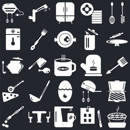 Set Of 25 icons such as Barbecue, Kitchen board, Coffee maker, Table, Brush, Rolling pin, Mitten, Timer, Pizza cutter, Freezer, Cabinet, Tap on black background, web UI editable icon pack