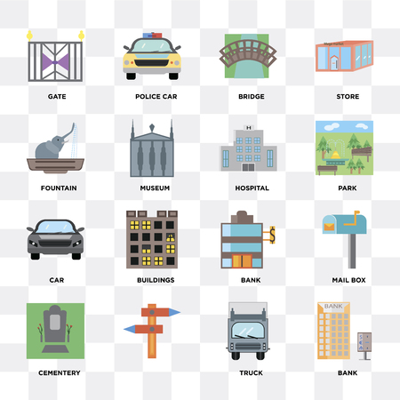 Set Of 16 icons such as Bank, Truck, , Cementery, Mail box, Gate, Fountain, Car, Hospital on transparent background, pixel perfect Illusztráció