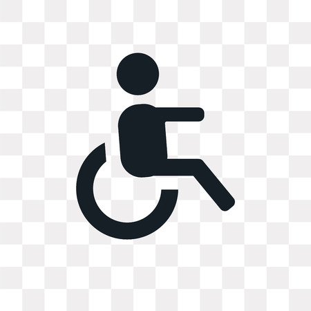 Wheelchair side view vector icon isolated on transparent background, Wheelchair side view logo concept