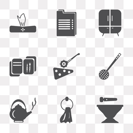 Set Of 9 simple transparency icons such as Mortar, Towel, Kettle, Skimmer, Pizza cutter, Recipe, Cabinet, Napkin, can be used for mobile, pixel perfect vector icon pack on transparent