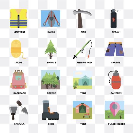 Satz von 16 Symbolen wie Platzhalter, Zelt, Schuh, Spachtel, Kantine, Schwimmweste, Seil, Rucksack, Angelrute auf transparentem Hintergrund, Pixel perfekt Vektorgrafik