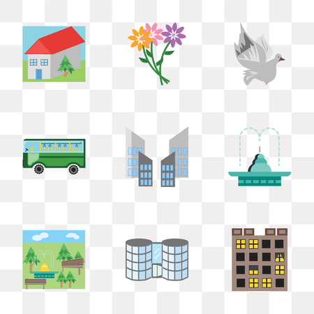 Set Of 9 simple transparency icons such as Buildings, Mall, Park, Fountain, Skyscraper, Bus, Dove, Flowers, House, can be used for mobile, pixel perfect vector icon pack on transparent background Ilustração
