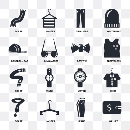 Set Of 16 icons such as Wallet, Jeans, Hanger, Scarf, Shirt, Baseball cap, Bow tie on transparent background, pixel perfect