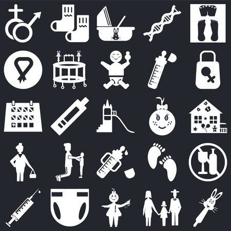 Set Of 25 icons such as Rattle, Family, Baby, Diaper, Syringe, Bag, Baby girl, Feeder, Pregnant, Breast, Cradle, Socks on black background, web UI editable icon pack