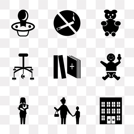 Set Of 9 simple transparency icons such as Hospital, Mother, Breastfeeding, Baby, Tale, Crib toy, Teddy bear, No smoking, Pacifier, can be used for mobile, pixel perfect vector icon pack on