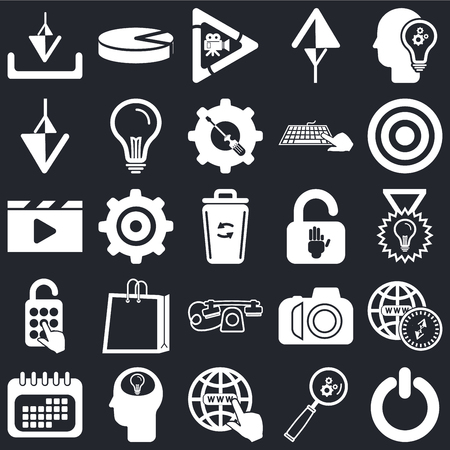 Set Of 25 icons such as Power, Search, Internet, Head, Calendar, Target, Padlock, Telephone, Down arrow, Video player, Pie chart on black background, web UI editable icon pack