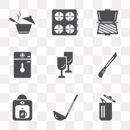 Set van 9 eenvoudige transparantie iconen zoals prullenbak, scoop, koffiezetapparaat, mes, glas, vriezer, broodrooster, fornuis, pot, kan worden gebruikt voor mobiel, pixel perfect vector icon pack op transparante achtergrond