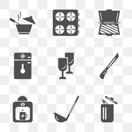 Set Of 9 simple transparency icons such as Trash, Scoop, Coffee maker, Knife, Glass, Freezer, Toaster, Stove, Pot, can be used for mobile, pixel perfect vector icon pack on transparent background Illustration
