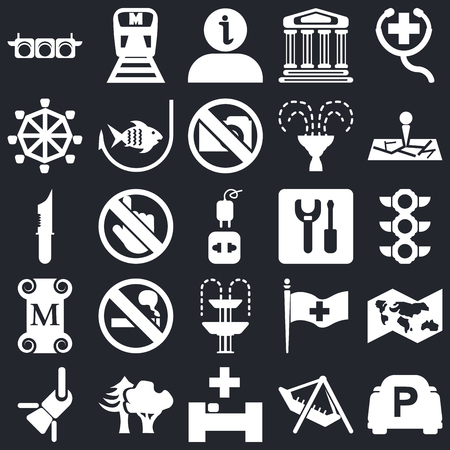Set Of 25 icons such as Parking, Amusement Park, Hospital, Woods, Reflector, Map, Wrench, Fountain, Museum, Roller Coaster, Information, Metro on black background, web UI editable icon pack