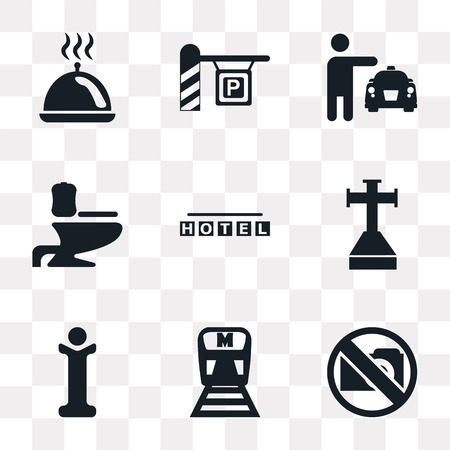 Set Of 9 simple transparency icons such as No Photo, Metro, Information, Cross stuck in ground, Square hotel, Toilet side view, Taxi, Parking, Tray with cover, can be used for mobile, pixel perfect