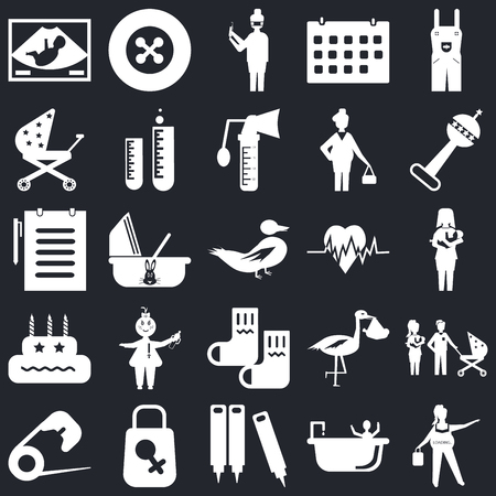 Set Of 25 icons such as Pregnancy, Shower, Crayons, Bag, Safety pin, Rattle, Heart beat, Socks, Birthday, Stroller, Nurse, Button on black background, web UI editable icon pack