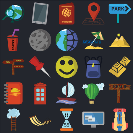Set Of 25 icons such as Backpack, Computer, Time, Hammock, Ladder, Pyramid, Sailboat, Notebook, Drink, Passport, Phone on black background, web UI editable icon pack