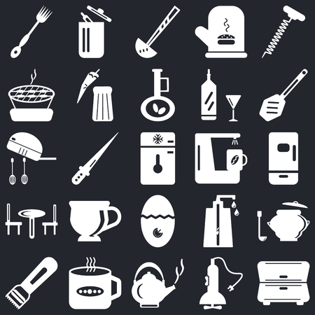 Set Of 25 icons such as Cabinet, Mixer, Kettle, Tea cup, Peeler, Paddle, Coffee maker, Timer, Table, Barbecue, Ladle, Trash on black background, web UI editable icon pack Stock Illustratie