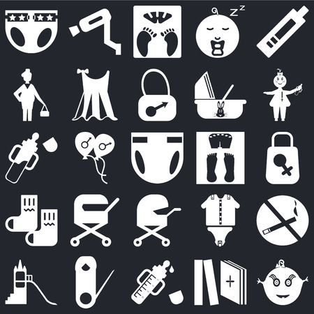 Set Of 25 icons such as Baby, Tale, Feeder, Safety pin, Playground, Scale, Baby carriage, Socks, Pregnant, Surveillance on black background, web UI editable icon pack
