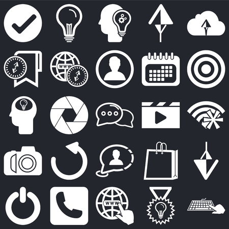 Set Of 25 icons such as Password, Check, Internet, Telephone, Power, Target, Video player, Speech bubble, Photo camera, Bookmark, Idea, Idea on black background, web UI editable icon pack