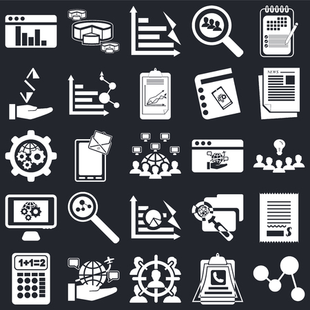 Set Of 25 icons such as Line chart, Clipboard, Target, Internet, Calculator, Newspaper, Browser, Pie Settings, Receive, Bar Diagram on black background, web UI editable icon pack