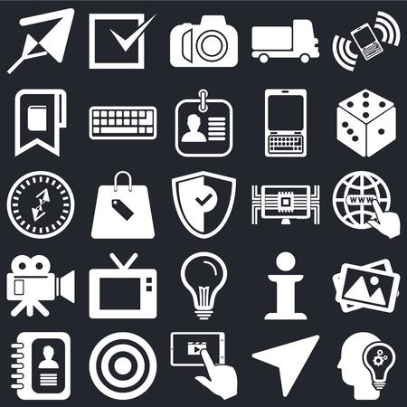 Conjunto de 25 iconos como idea, brújula, tableta, objetivo, agenda, dados, computadora, cámara de video, marcador, marca de foto sobre fondo negro, paquete de iconos editables de interfaz de usuario web