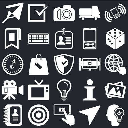 Set Of 25 icons such as Idea, Compass, Tablet, Target, Agenda, Dice, Computer, Video camera, Bookmark, Photo Tick on black background, web UI editable icon pack Illustration