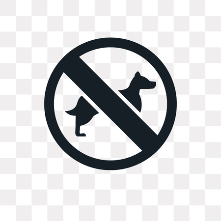 No Dogs vector icon isolated on transparent background, No Dogs logo concept Çizim