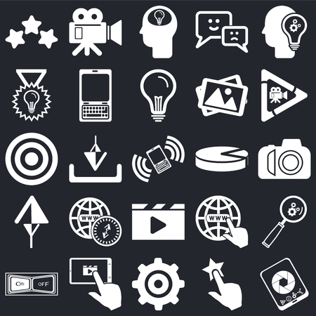 Set Of 25 icons such as Smartphone, Tap, Settings, Tablet, Switch, Video player, Pie chart, Up arrow, Check, Head, camera on black background, web UI editable icon pack Ilustração