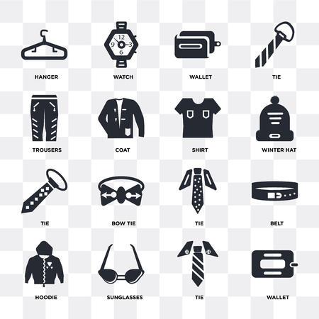 Set Of 16 icons such as Wallet, Tie, Sunglasses, Hoodie, Belt, Hanger, Trousers, Shirt on transparent background, pixel perfect